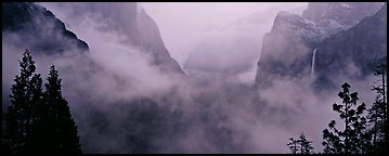 Fog in Yosemite Valley. Yosemite National Park (Panoramic color)