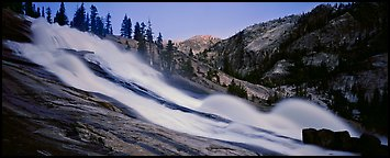 Tuolumne River, waterwheels, and granite slab at dusk. Yosemite National Park (Panoramic color)