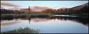 Alpine lake and mountains at sunset. Yosemite National Park (Panoramic color)