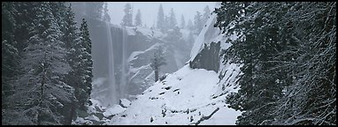 Vernal Fall in winter fog. Yosemite National Park (Panoramic color)