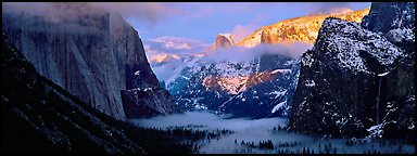Winter sunset over Yosemite Valley. Yosemite National Park (Panoramic color)