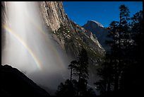 Upper Yosemite Falls with double moonbow and Half-Dome. Yosemite National Park ( color)