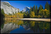North Dome and Half Dome reflected in Merced River. Yosemite National Park ( color)