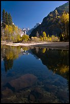 Rocks and Merced River reflections of trees and Half-DOme. Yosemite National Park ( color)