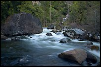Merced River flowing past huge boulders, Lower Merced Canyon. Yosemite National Park ( color)