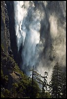 Bridalveil fall with water sprayed by wind gusts. Yosemite National Park ( color)