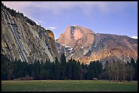 Seasonal waterfall and Half-Dome from Awhanhee Meadow. Yosemite National Park ( color)
