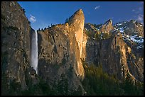Bridalveil falls and Leaning Tower, sunset. Yosemite National Park ( color)
