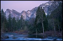 Merced River and Cathedral rocks at dusk. Yosemite National Park ( color)