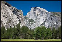 Half Dome and Washington Column from Ahwanhee Meadow in Spring. Yosemite National Park, California, USA.
