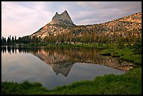 Cathedral Peak reflected in upper Cathedral Lake, late afternoon. Yosemite National Park ( color)