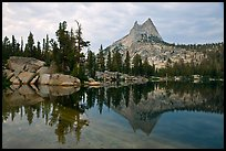 Upper Cathedral Lake and Cathedral Peak at dusk. Yosemite National Park ( color)