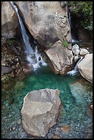 Boulder and emerald waters in pool, Wapama Falls, Hetch Hetchy. Yosemite National Park ( color)
