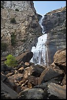 Boulders, Wapama Falls, and rock wall, Hetch Hetchy. Yosemite National Park, California, USA. (color)