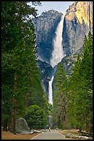 Tourists on path dwarfed by Upper and Lower Yosemite Falls. Yosemite National Park ( color)
