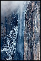 Ribbon Falls and snowy cliff. Yosemite National Park ( color)