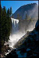 Vernal Fall with backlit mist, morning. Yosemite National Park ( color)