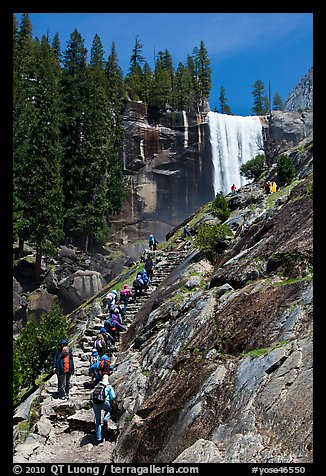 Picture Photo Crowded Mist Trail And Vernal Fall