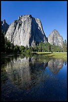 Cathedral Rocks reflected in flooded El Capitan Meadow. Yosemite National Park ( color)