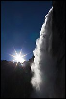 Backlit waterfall from Fern Ledge. Yosemite National Park ( color)