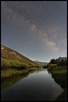 Milky Way above Lyell Canyon and Tuolumne River. Yosemite National Park ( color)