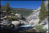 Merced River flowing over granite. Yosemite National Park ( color)