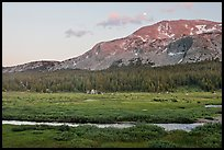 Mammoth Mountain and stream at sunset. Yosemite National Park ( color)