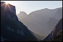 Sun, El Capitan, and Half Dome from near Inspiration Point. Yosemite National Park ( color)