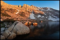 Shore of Upper McCabe Lake with North Peak at sunset. Yosemite National Park ( color)