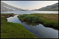 Stream and Roosevelt Lake at sunset. Yosemite National Park ( color)