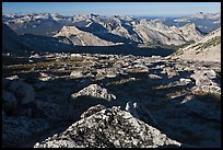 Domes and mountains from rocky plateau, Mount Conness. Yosemite National Park ( color)
