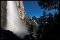 Double spray lunar rainbow, Upper Yosemite Falls and Half-Dome. Yosemite National Park ( color)
