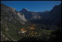 Yosemite Village lights and Half-Dome by moonlight. Yosemite National Park ( color)