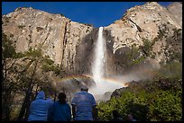 Tourists looking at Bridalvail Fall rainbow. Yosemite National Park ( color)