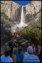 Tourists standing below Bridalvail Fall. Yosemite National Park ( color)