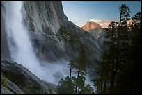 Upper Yosemite Falls and Half-Dome at sunset. Yosemite National Park ( color)