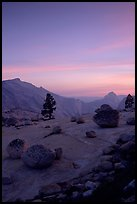 Glacial erratics, pine trees, Clouds rest and Half-Dome from Olmstedt Point, sunset. Yosemite National Park ( color)