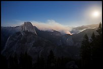 Half-Dome, fire, and moon. Yosemite National Park ( color)