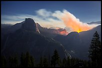 Half-Dome and wildfire at night. Yosemite National Park ( color)