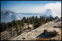 Foggy valley and Half-Dome from Sentinel Dome. Yosemite National Park ( color)