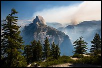 Half Dome from Glacier Point with wildfire. Yosemite National Park ( color)