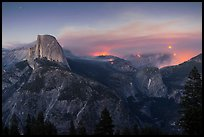 Half-Dome, forest fire, and moon rising. Yosemite National Park ( color)