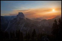 Half-Dome, wildfire, and moon. Yosemite National Park ( color)