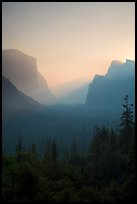 View of smoky Yosemite Valley at sunrise. Yosemite National Park ( color)