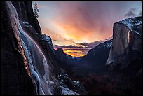 Seasonal waterfall, Yosemite Valley, and Horsetail Fall firefall. Yosemite National Park ( color)
