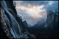 Seasonal waterfall, Yosemite Valley, El Capitan. Yosemite National Park ( color)