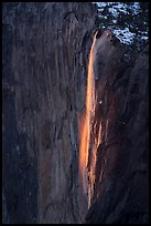 Horsetail Fall natural firefall. Yosemite National Park ( color)