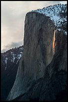 El Capitan with Horsetail Fall natural firefall. Yosemite National Park ( color)