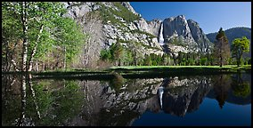 Yosemite Falls reflected in run-off pond. Yosemite National Park (Panoramic color)