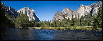 Valley View, El Capitan and Bridalveil Fall. Yosemite National Park (Panoramic color)